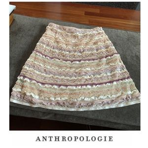 Anthropologie Odille Ruffle Ribbon Lace Skirt